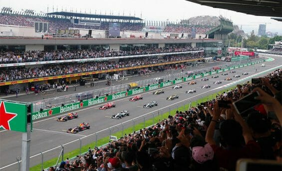 Cars on the track at the Mexico Grand Prix.