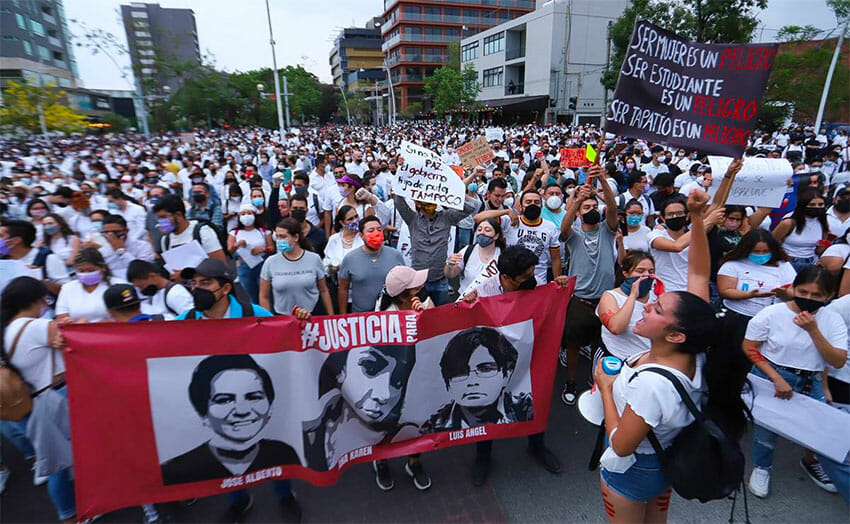 Marchers turned out in large numbers in Guadalajara on Tuesday.
