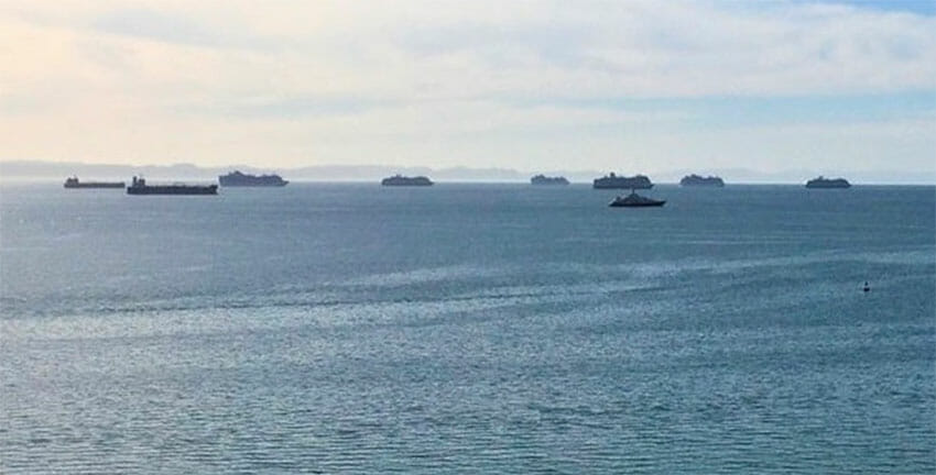 Several cruise ships are among vessels anchored off La Paz.