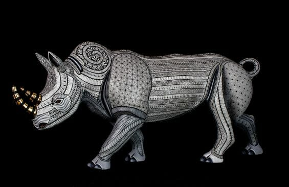 A carved rhino from the workshop of Jacobo and Maria Ángeles.