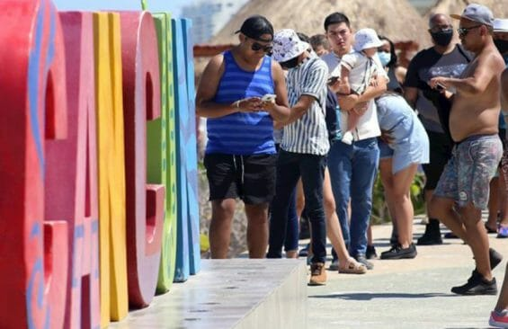tourists in Cancun in late May