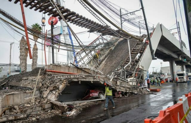 Collapsed overpass of Line 12 Mexico City Metro