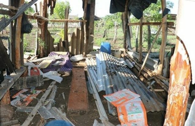 The remains of a destroyed home in Santa Isabel Las Delicias, Chiapas.