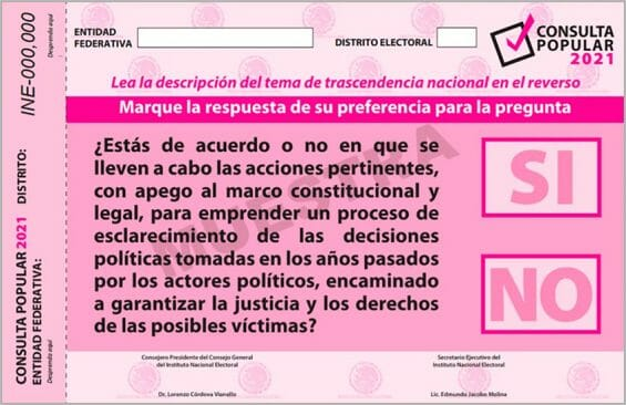 INE-approved-referendum-ballot on whether to prosecute Mexico's past presidents