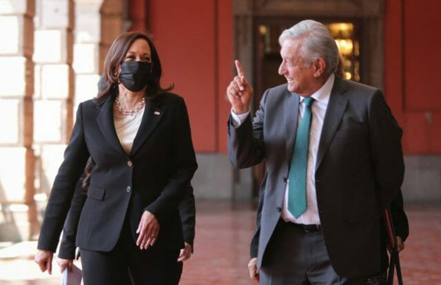 Vice President Harris and President López Obrador in Mexico's national palace