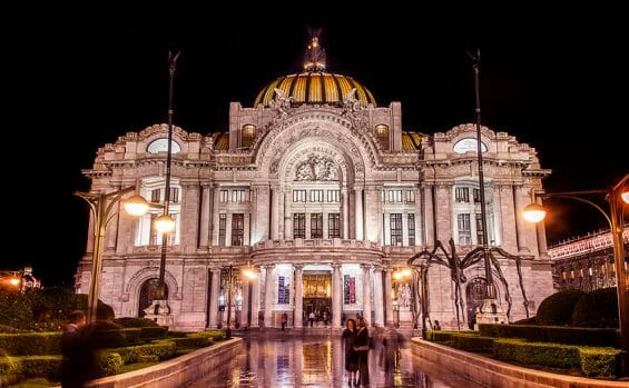 The Palace of Fine Arts in Mexico City.