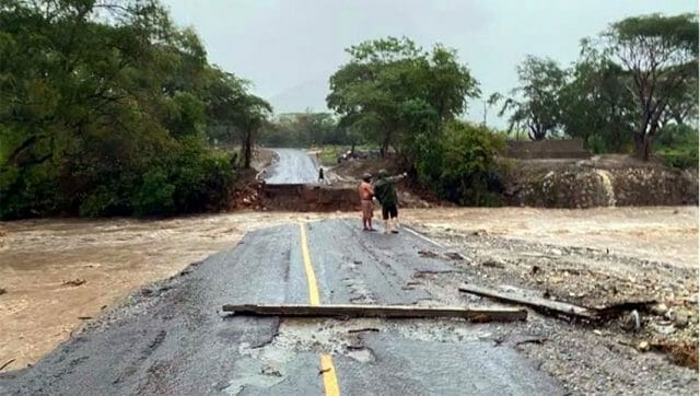 The storm wiped out a bridge in Colima.