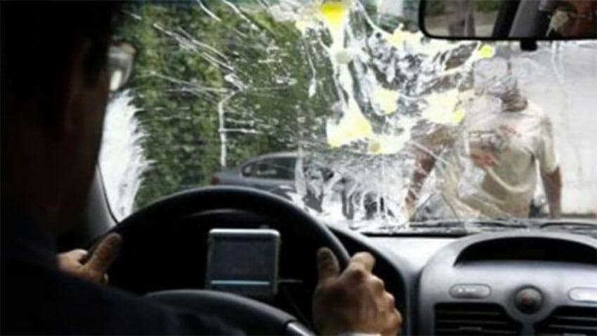Drivers are blinded when an egg attack occurs.