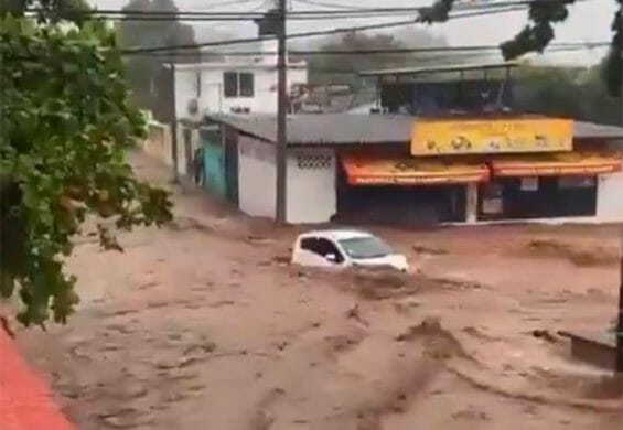 Flooding in Guerrero on the weekend.