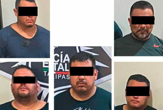 'La Vaca,' center, and four others arrested in connection with the Reynosa shootings.