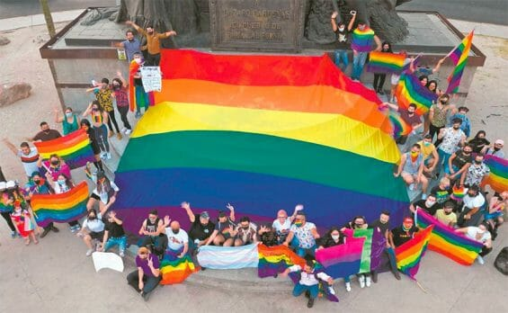 Supporters of the same-sex marriage bill outside the Baja California state Congress.