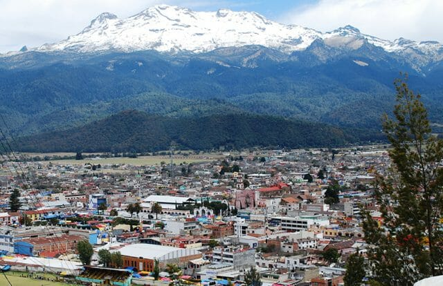 Panoramic of Amecameca with Iztaccihuatl volcano in the background