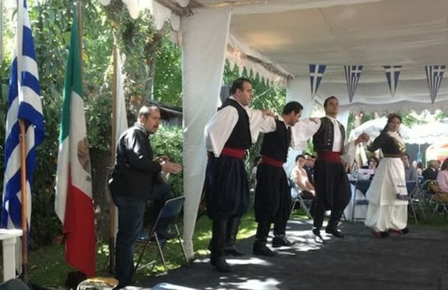 Greek Mexicans celebrating Greek Independence Day in Mexico City.