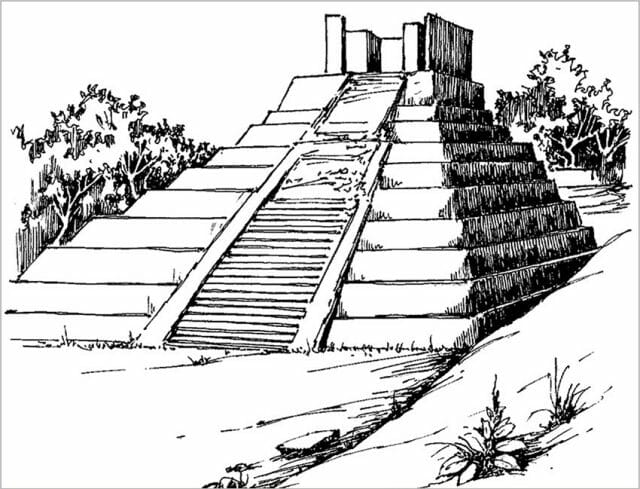 drawing of ruins of Comalcalco in Tabasco