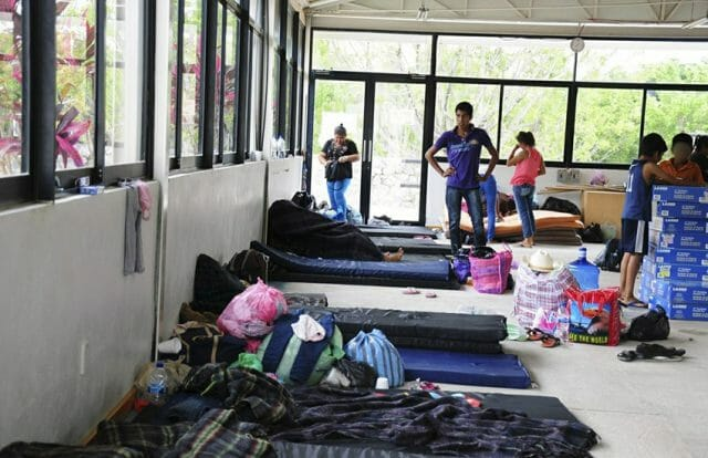 Residents of San Miguel Totolapan, displaced by narcos, in shelter