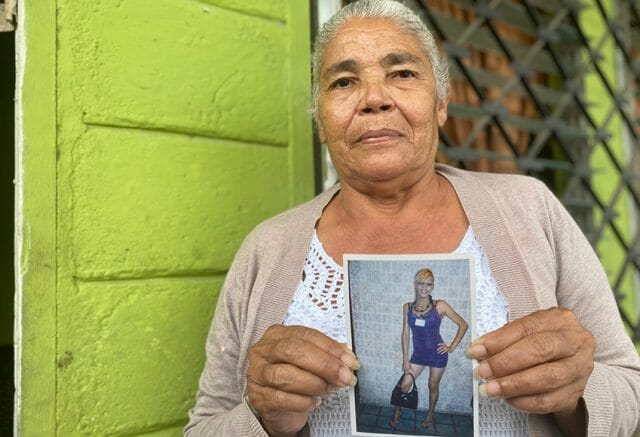Transgender activist Vicky Hernández in a photo held by her mother, Rosa Hernández.