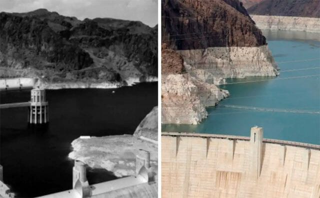 Lake Mead circa 1950, left, and Lake Mead in June 2021