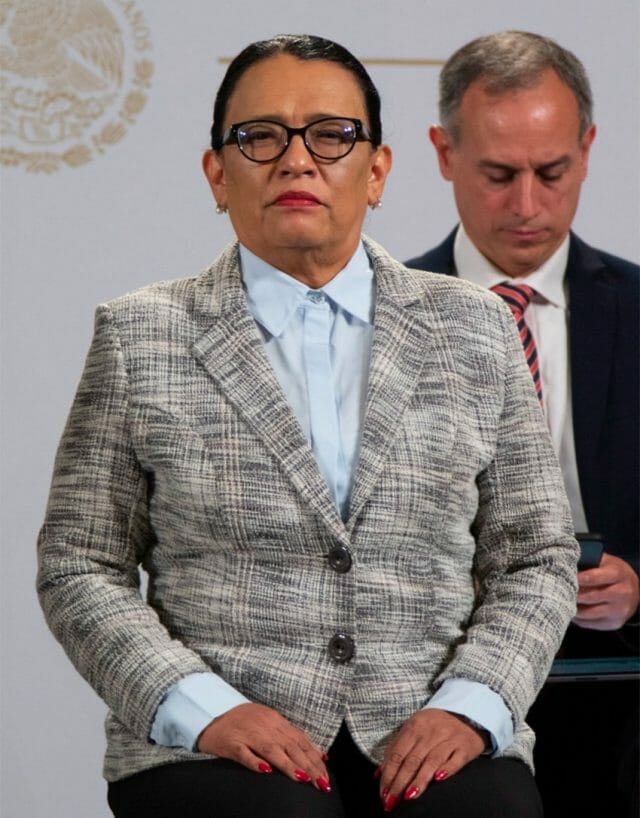 A stern looking security minister, Rosa Icela Rodríguez