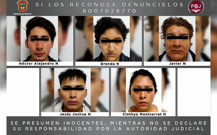 Suspects in the kidnapping case in Tlalnepantla.