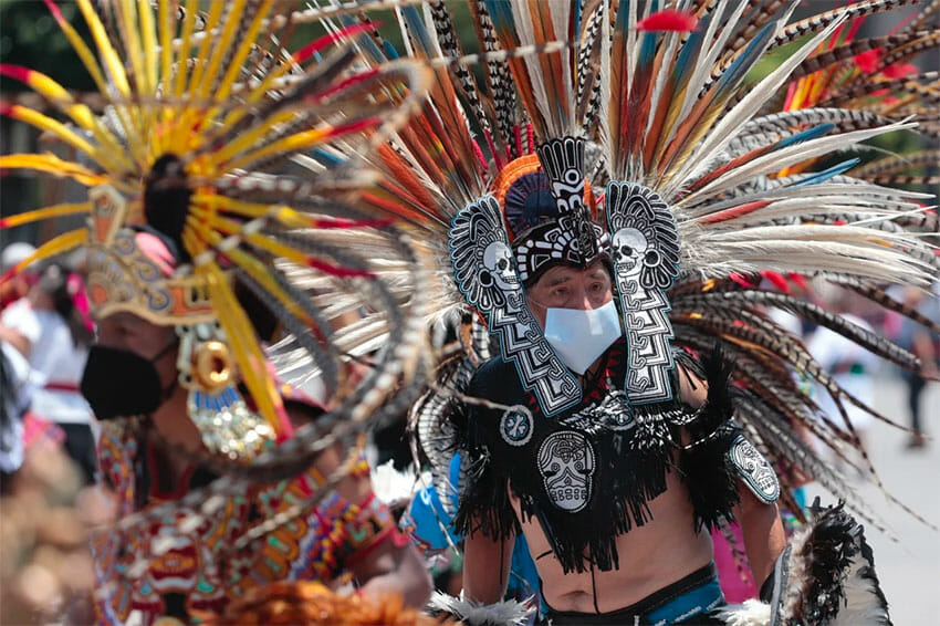 Colorful costumes adorned the capital's zócalo on Monday.