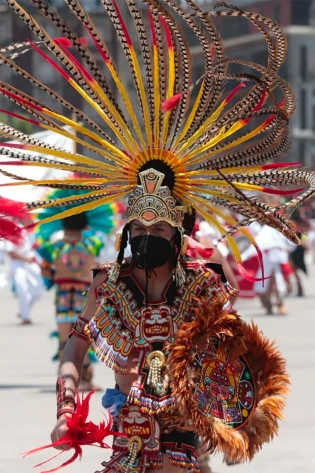 A dancer celebrates the founding of the Mexica capital, Tenochtitlán.