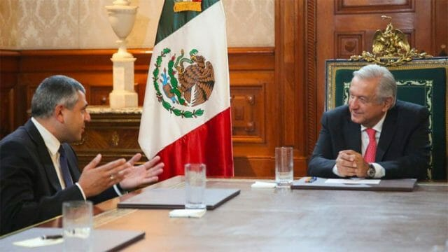 The head of the WTO at a meeting with President López Obrador earlier this week.