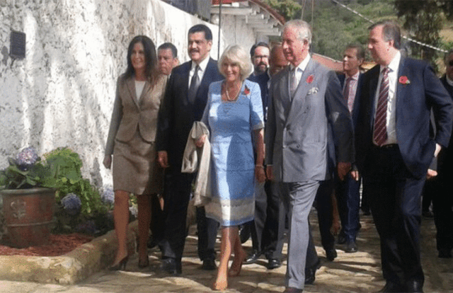 Prince Charles and the Duchess of Cornwall in Real del Monte in 2014