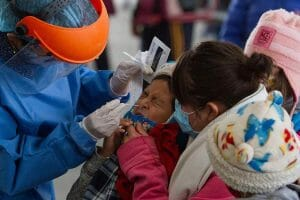 A child receives a Covid-19 test in Mexico City.
