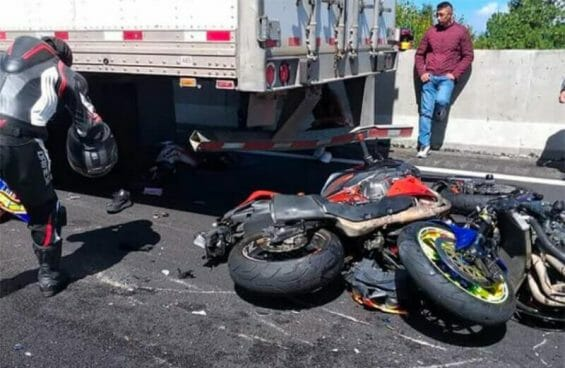 One of the motorcycles after Sunday's series of accidents.