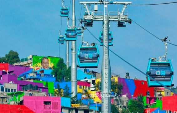 Cable cars on Mexico City's Line 2.