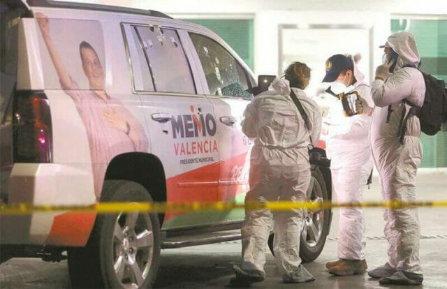 A campaign vehicle in Michoacán that was attacked a month before the June elections.