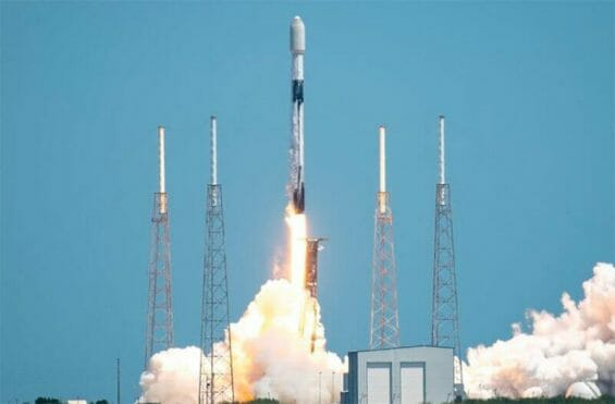 A SpaceX Falcon rocket lifts off at Cape Canaveral Space Force Station