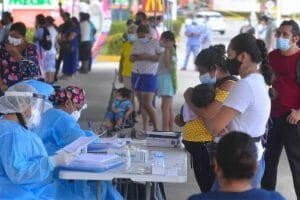 Covid testing stations were busy in Villahermosa, Tabasco,