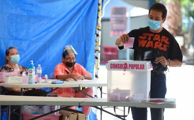 A man casts his ballot in Torreón, Coahuila, in Sunday's referendum.