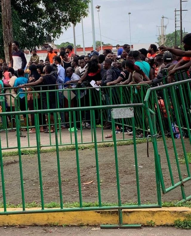 Migrants from the Caribbean and Africa at the Mexican government immigration complex in Tapachula in 2019
