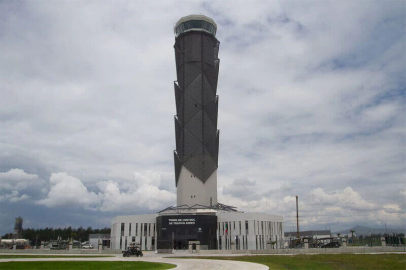 The new control tower at Felipe Ángeles International Airport near Mexico City.