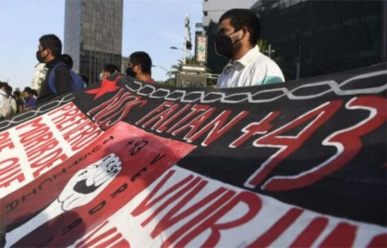 A protest in support of the 43 student teachers who disappeared in Iguala, Guerrero.