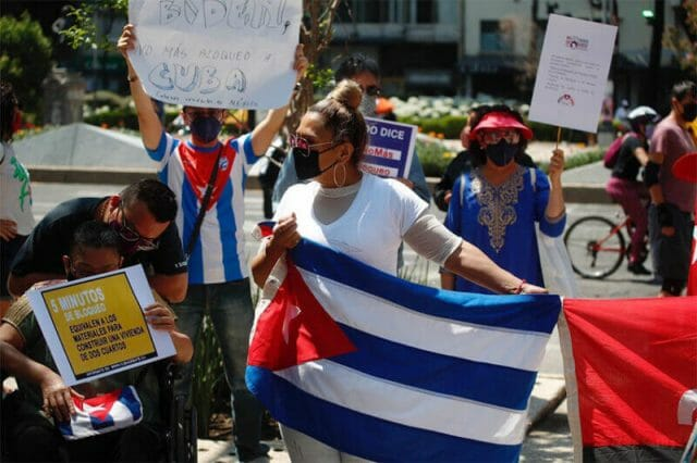 In May, Cubans in Mexico City protested against the US trade embargo against their home island.