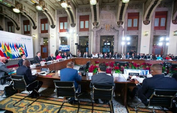 Latin American and Caribbean leaders at Saturday's conference at the National Palace.