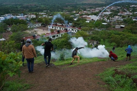 In July of this year, Aguililla residents threw firecrackers and rocks at the local military base to demand that authorities take action.