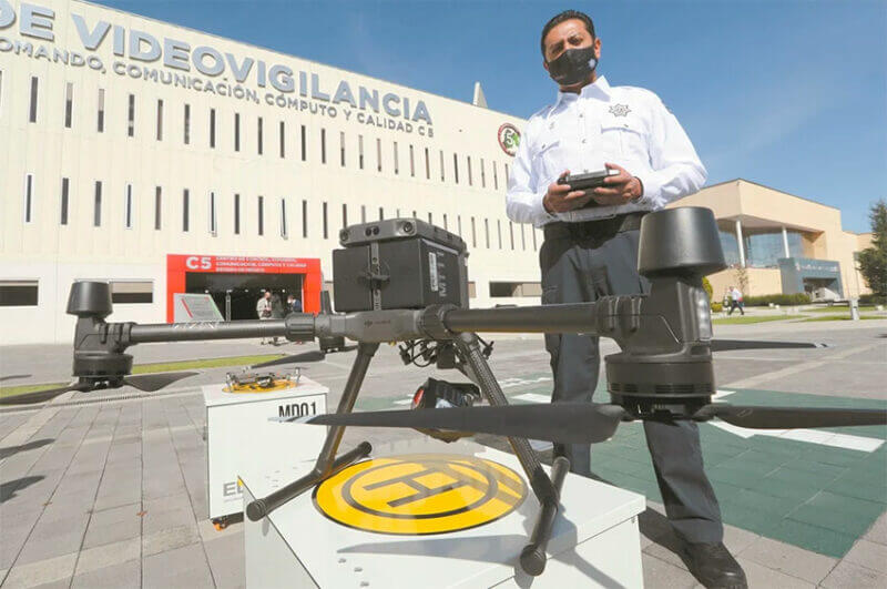 One of the drones used for crimefighting in México state.