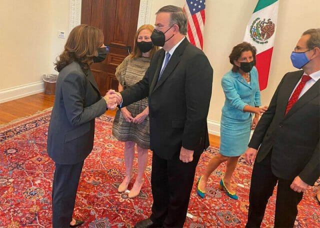 US Vice President Harris and Mexico Foreign Affairs Minister Ebrard in Washington Thursday.