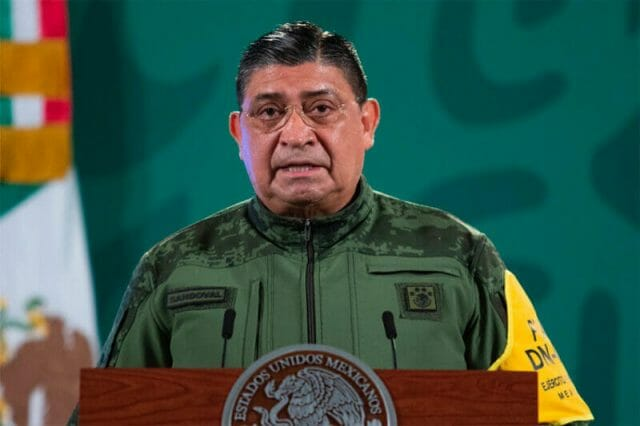 Defense Minister Sandoval reports on construction at Mexico City's new airport.