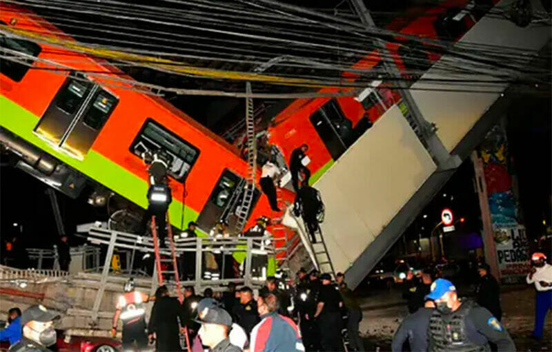The collapsed section of Line 12 after the accident in May.
