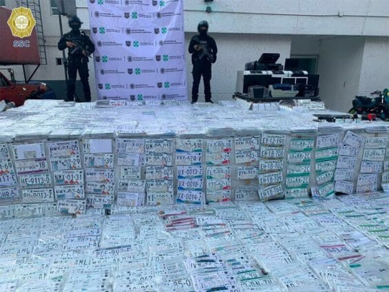 The license plate haul by police in Mexico City.