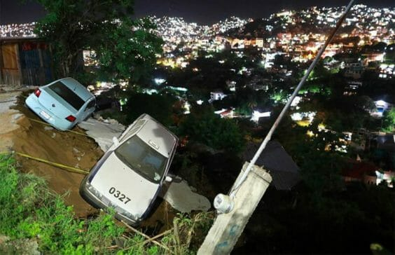 Two vehicles were left in a precarious position