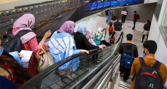 Afghans arrive Tuesday at the Mexico City airport.