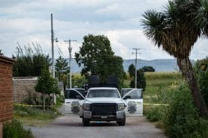 Authorities cordoned off the area near the clandestine grave in Zacatecas.