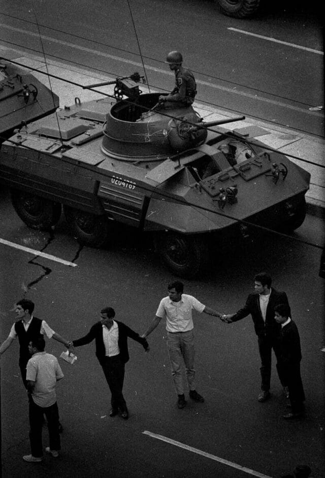 Tank in Mexico City on day of Tlatelolco Massacre
