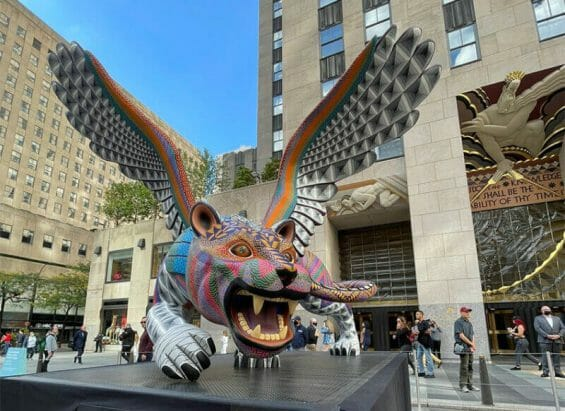 One of the alebrijes at the Rockefeller Center in New York City.